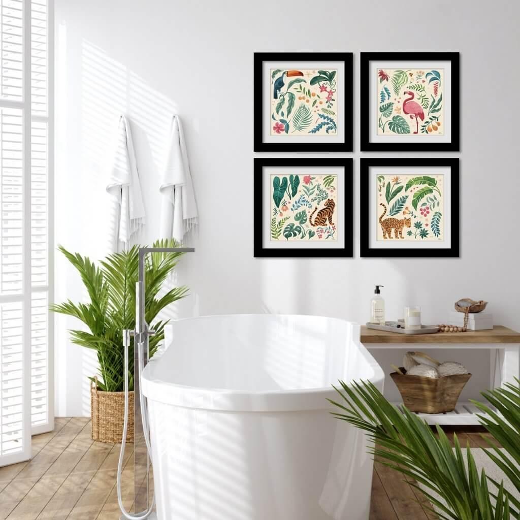 Bathroom Tropical Wall Art Ideas