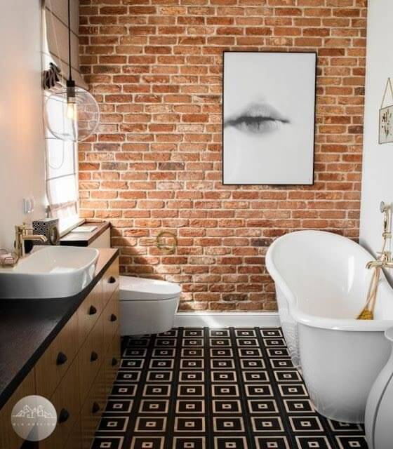 One of bathroom walls is installed red bricks