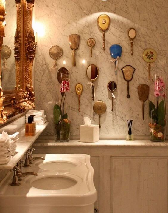 Hand Mirrors on Wall