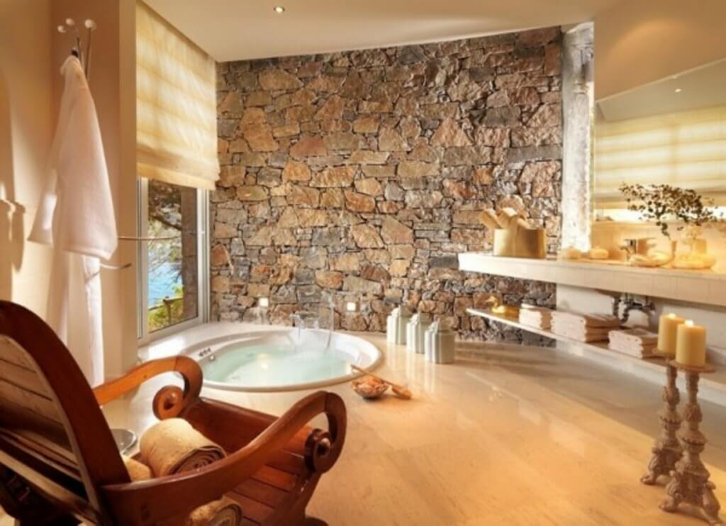Inspired Bathroom With Natural Stone Wall