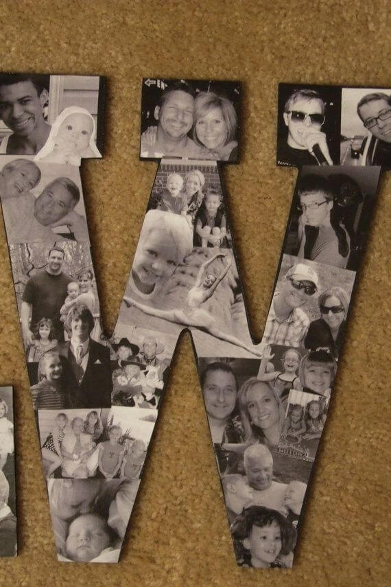 Place Photo Collage Letters On A Classic Wall