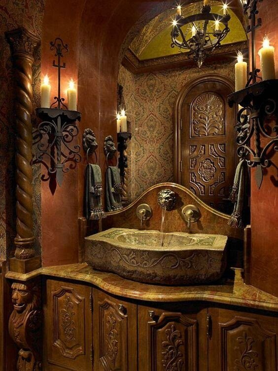 Romantic Bathroom with Candle Holder