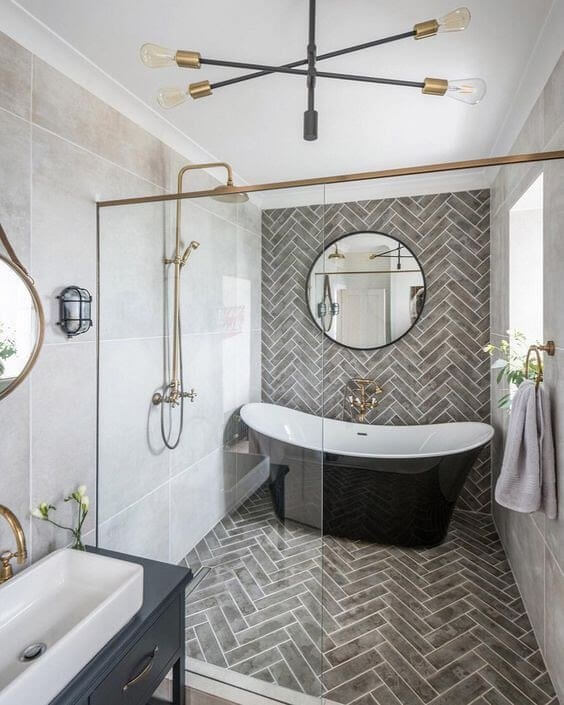 Rustic Pattern Play on Your Bathroom Wall
