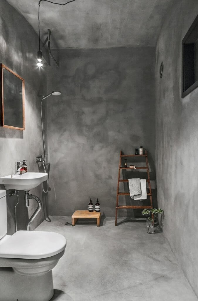 Try A Concrete Wall Instead of Using Tiles in Bathroom