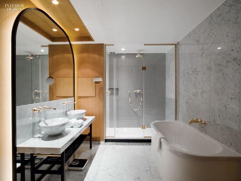 Vertical Mixed Horizontal Stripes Bathroom Wallpaper