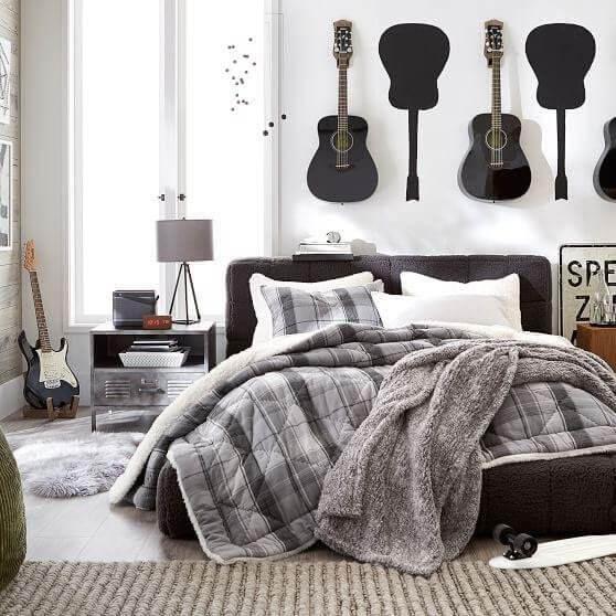 Guitars Display On Bedroom Wall