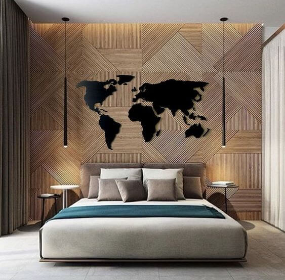 Decorating Headboard With A World Map