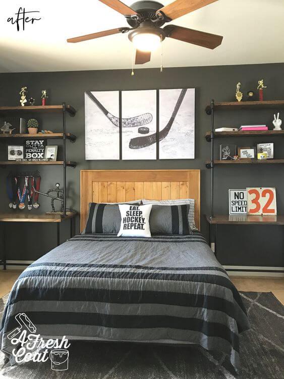 Teenage Boy Room Decor for Hockey Fans