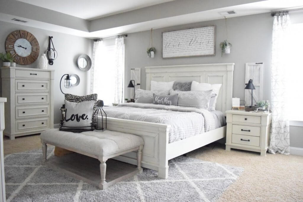 Stunning Gray and White Bedroom