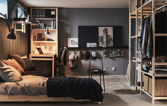 Teenage Boy Bedroom with a Wooden Interior