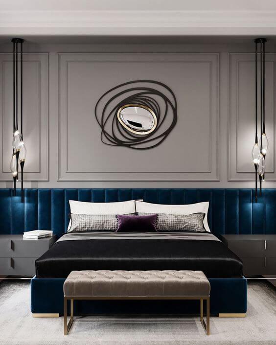 Art lighting fixtures in master bedroom