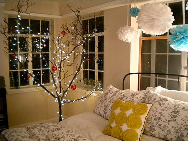 Tree Branches with Fairy Lights for Christmas Bedroom Decor