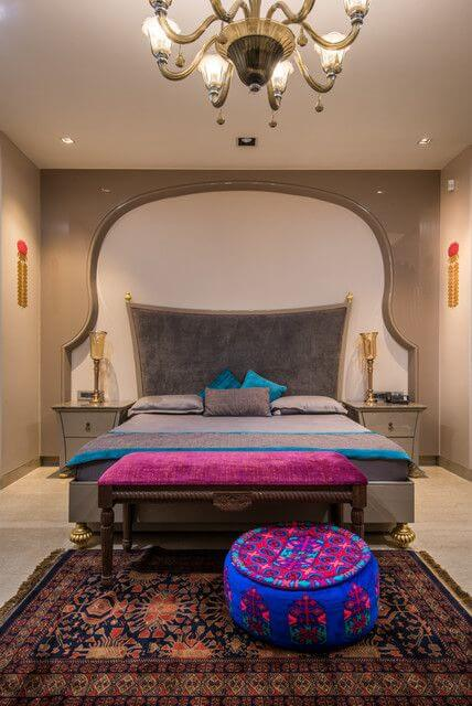Charming Moroccan Ottoman and Bench in Fuchsia Color