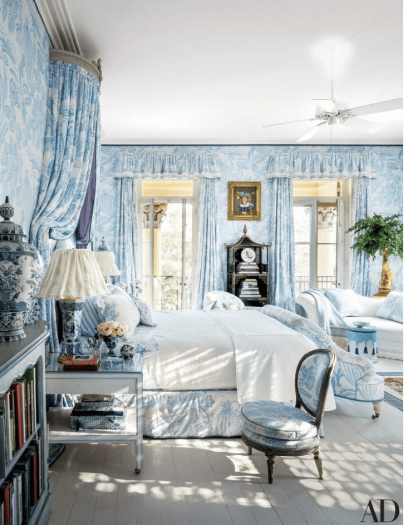 French Country Designs with Blue Color Bedroom