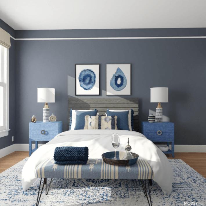 Eclectic Blue Bedroom