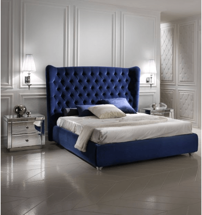 A Glamorous Bedroom with A Tufted Velvet Blue Bed