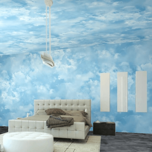 An Inspired Ceiling With Sky Blue Sleeping Space