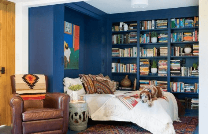 Modern Navy Library Bedroom with Shelves