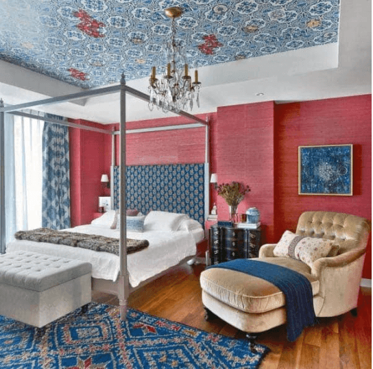 Bold Bedroom in Blue and Red