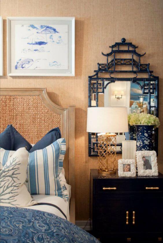 Asian Pagoda-Inspired Mirror in Bedroom
