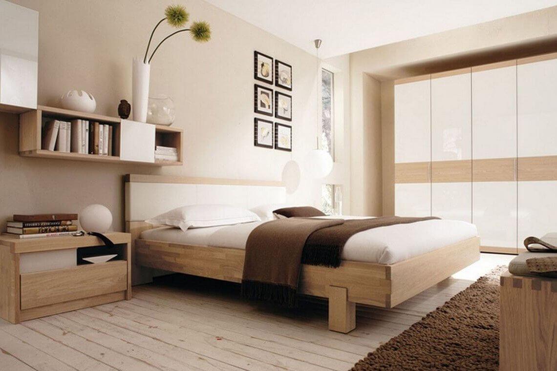 modern platform bed in a neutral bedroom
