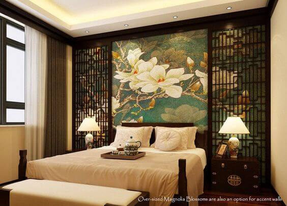 Magnolia Painting with Antique Chinese Screens