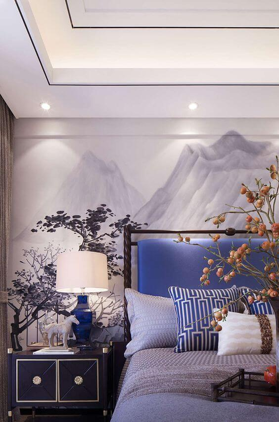 Mountain Watercolor Art Behind the Bed