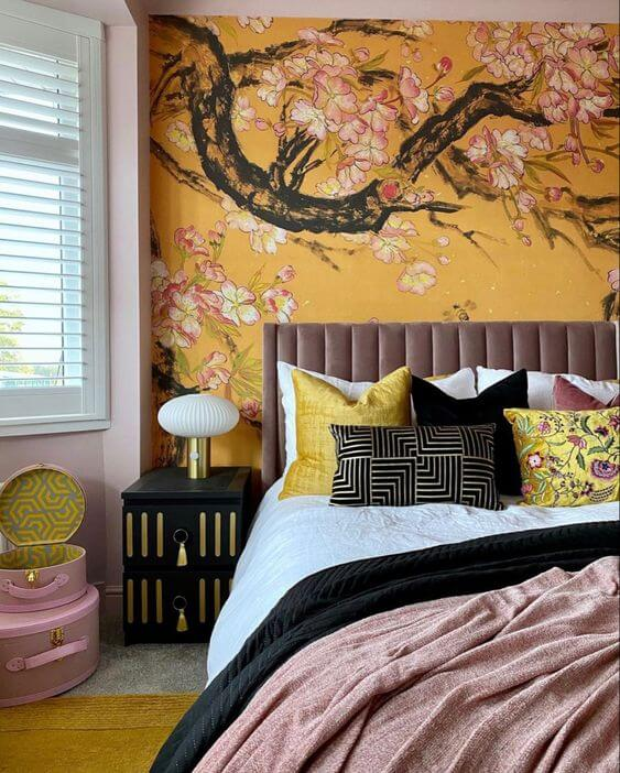 Oriental Patterned Pillows for Asian Bedroom