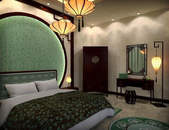 Paper Lanterns in Modern Asian Bedroom