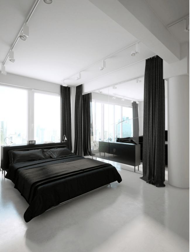 Off- White Tones With A Black Elegant Bed