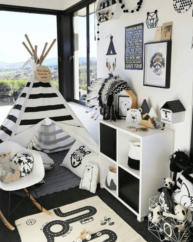 A Fun Kids Bedroom with Black and White Theme