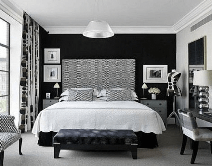 Black and White Bedroom with A Suede Accent wall