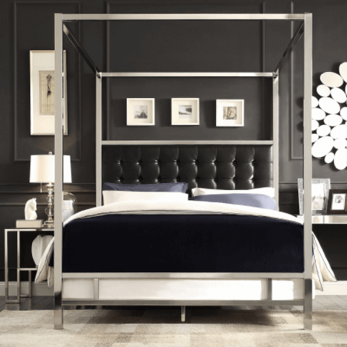 Glam Up Your Black and White Bedroom with Shiny Metallics
