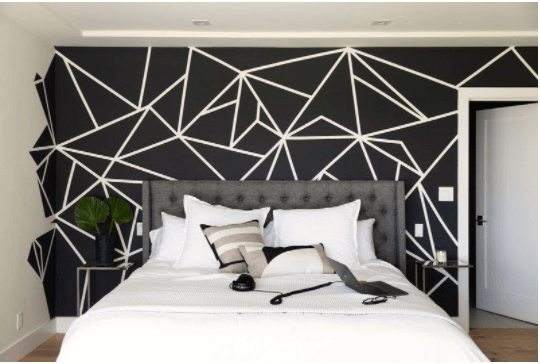 Geometry Fascinates in Black and White Bedroom