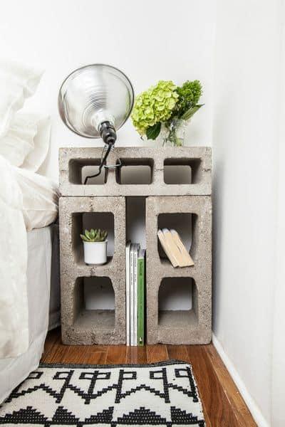 Storage Cinder Blocks Beside Bed