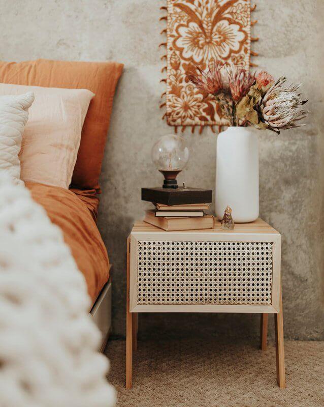 rattan wooden nightstand