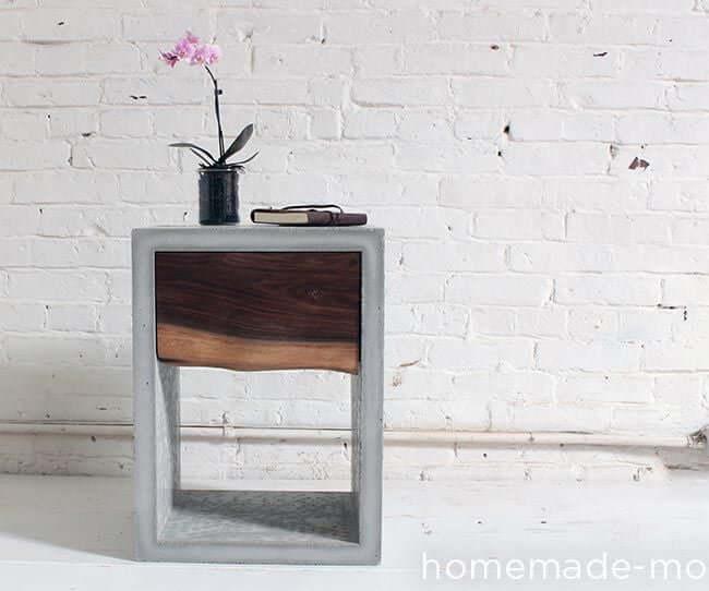 DIY concrete nightstand