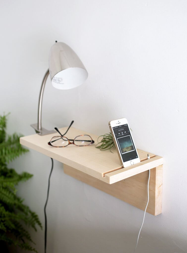 DIY Floating Shelf with A Phone Slot