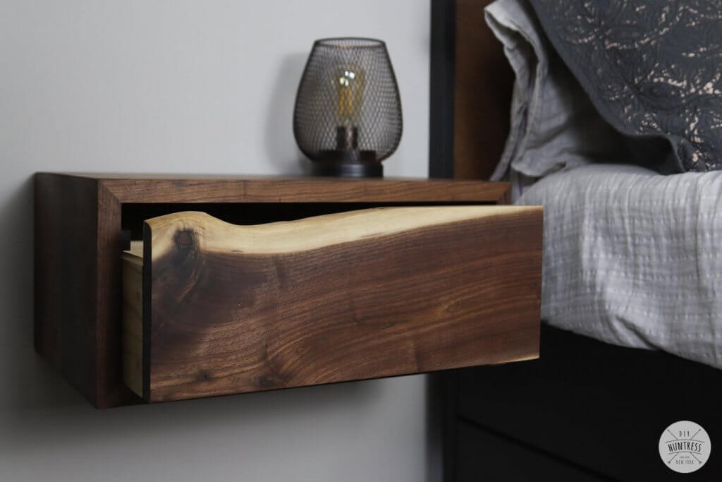 DIY project: wooden floating nightstand