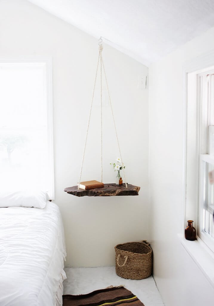 DIY Hanging Tray Beside Bed