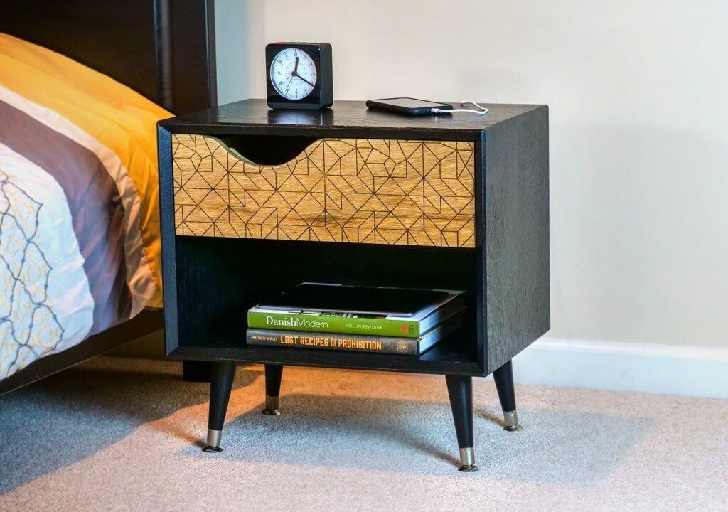 DIY project: geometric pattern on a mid-century modern nightstand