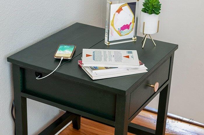 DIY nightstand organizer: installing charging ports on the nightstand