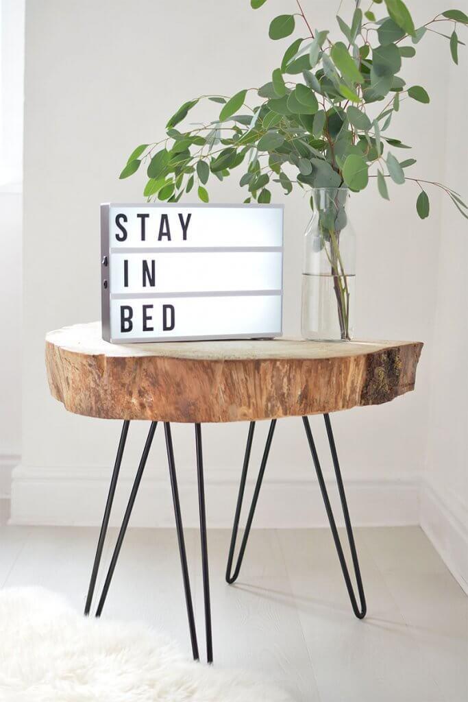 DIY tree slice bedside table