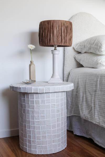 DIY Tiled Bedside Table