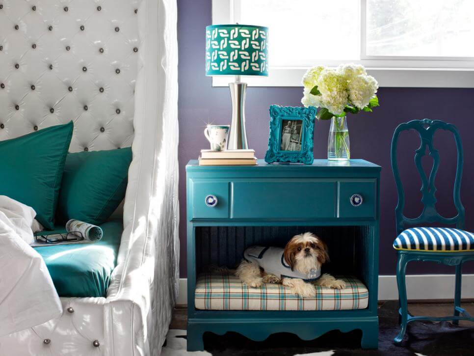 A repurposed nightstand: create a small dog bed in the nightstand